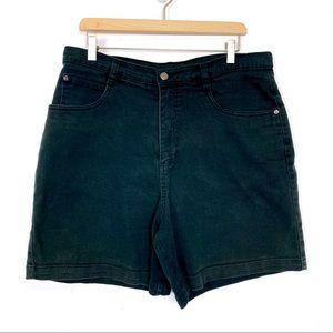 Vintage high waisted jean mom shorts black long